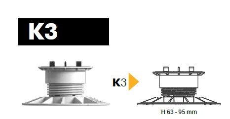 Säädettävä tasojalka K3 63-95mm